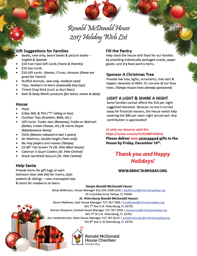 Ronald mcdonald house ronald mcdonald house charities for Home wish list