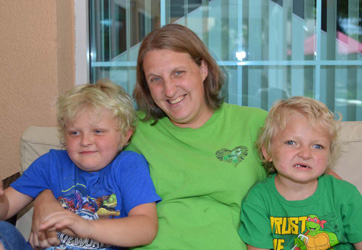 Katie Wieschowski with her two sons at RMH
